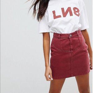 ASOS high waisted denim skirt in raspberry